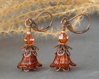 IDA'S BLOOM ... vintage style earrings ... with Swarovski crystal ... FREE Shipping