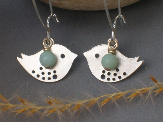 LOVE BIRD earrings ... with Aquamarine