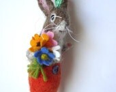 Needle Felted Spring Bunny with Felt Flowers   By Miss Bumbles