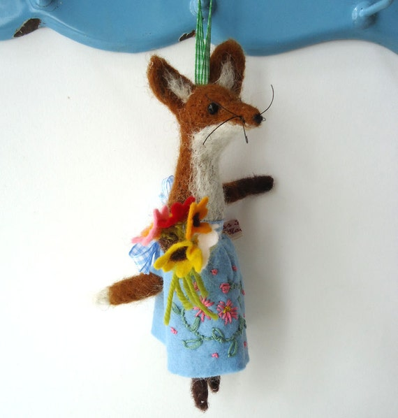 Reserved for babyollie96 Original Needle Felted Little Red Vixen with  Felt Flowers   by Miss Bumbles