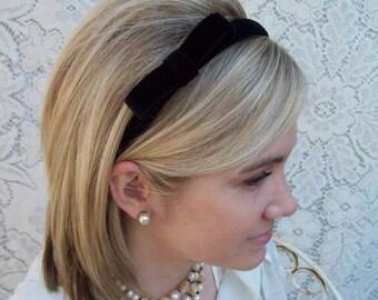 Black Velvet Headband with Bow Narrow