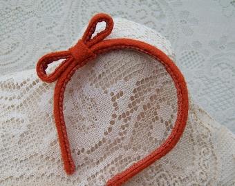 Last One Narrow Orange Headband with Bow
