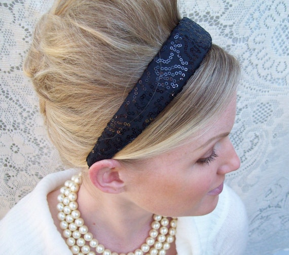 Classic Black Sequin Preppy Headband