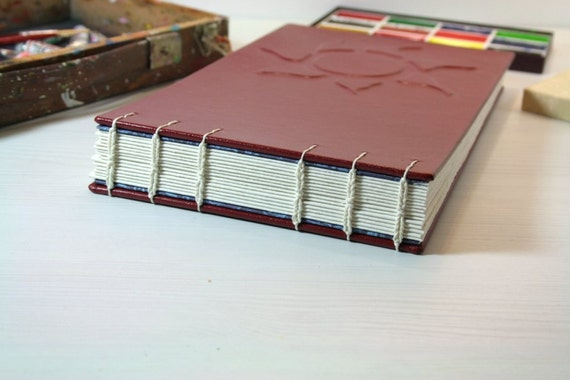 Watercolor Journal for Artists. Sun, Moon, and Stars. Full Leather Binding