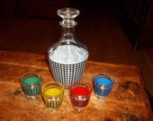 Vintage Houndstooth Decanter and multicolored shot glasses Made in France