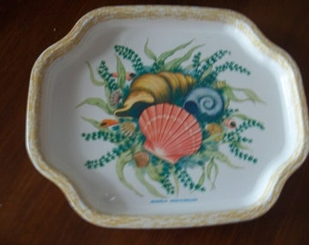 Four vintage seashell trays by Elite of England