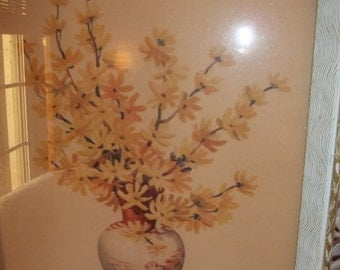 Two vintage 1940s framed floral litho prints by L Hart  Forsythia and honeysuckle