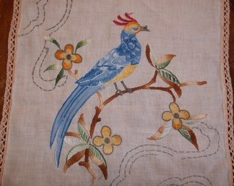 Vintage Hand stitched Amazing exotic bird table runner