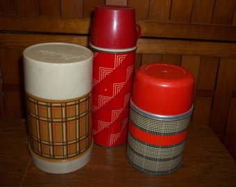 Three retro vintage thermoses