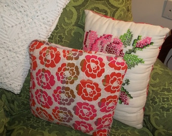 Vintage tapestry crocheted pillow