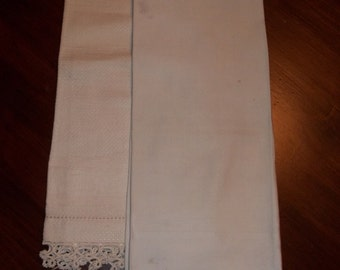 Two Vintage Cream Linen towels with tatting