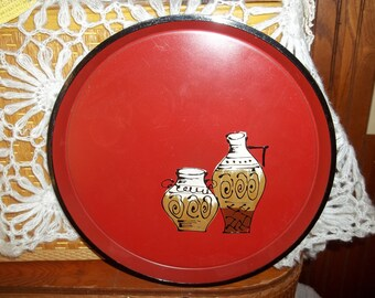 Vintage rust modernist tray with Vases
