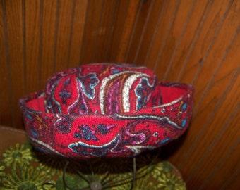 Cranberry paisley vintage hat