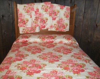 On Sale 85 Vintage Floral  Bedspread and six Drapes