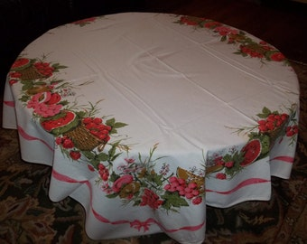 Small Vintage Watermelon and Berry tablecloth