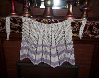Very Cute Vintage Crocheted Lavender Apron
