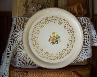 Vintage cream and gold tray