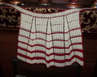 Beautiful crocheted red and cream apron