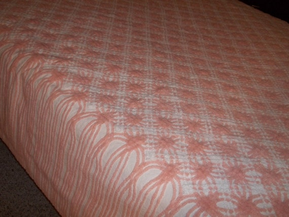 Reserved for alisalovesvintage Peachy pink chenille in excellent condition