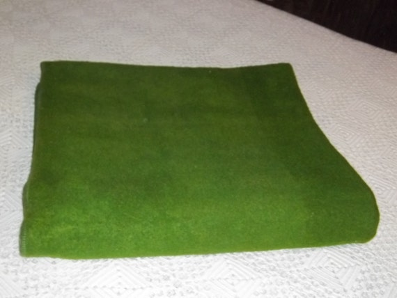 Vintage extremely heavy green wool blanket by superior