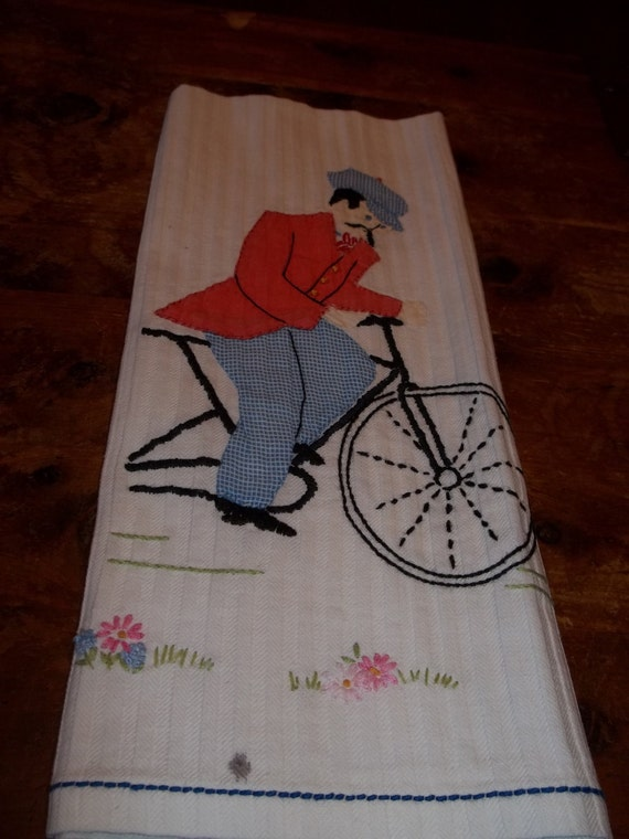 Vintage Embroidered and Appliqued towel  Turn of the Century Bicyclist