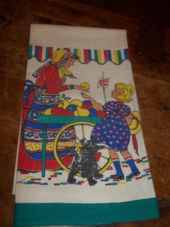 Vintage Tom Lamb Towel Girl going to market