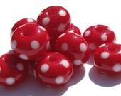 Red Polka Dot Minis (10) Lampwork Beads- SRA