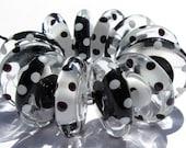 Opposites Attract Discs (12) Lampwork Beads -SRA