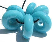 Turquoise Large Hole Sliders (6) Lampwork Beads -SRA