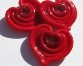 Red Heart Disc Trio (3) Lampwork Beads -SRA