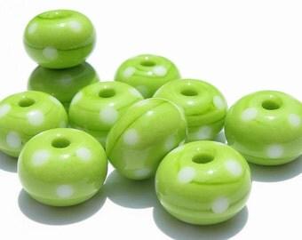 Lime Polka Dot Minis (10) Lampwork Beads -SRA