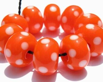 Orange Polka Dot Minis (10) Lampwork Beads -SRA