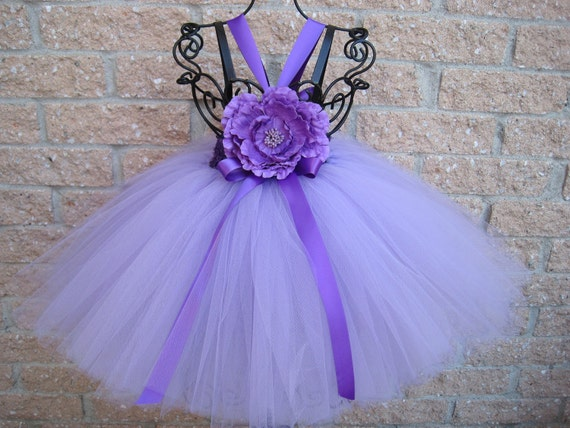 Tutu Dress, SPRING BABY LILACS, Elastic, Crochet-Style Bodice, 12 Inch Tulle Skirt, For 3-24 Months, Baby Girls
