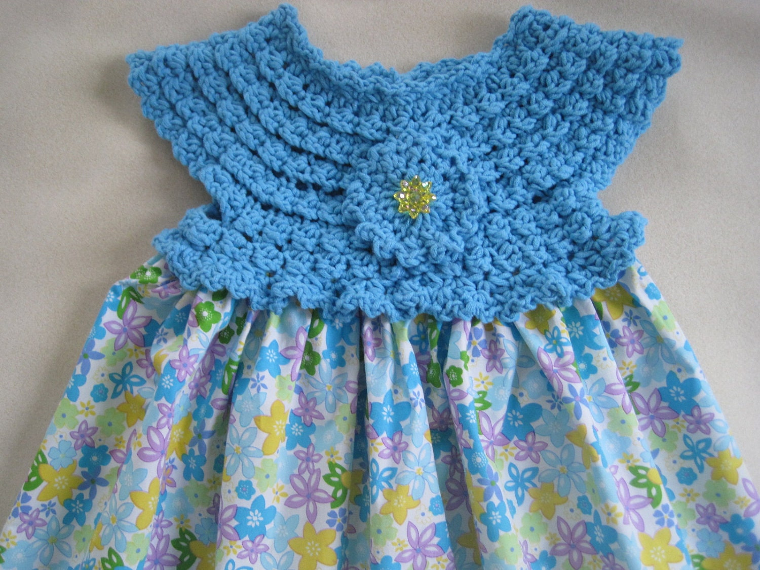Dress Blue With Flowers Crochet Bodice Fabric Skirt By