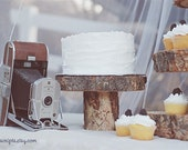 Custom for Ana - 11 Rustic Wood Tree Slice Cake Pedestals with engraving (as seen in Country Living Magazine)