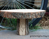 """12"""" Rustic Wood Tree Slice Cake Stand Pedestal for your Wedding, Valentine's Day, or Party"""