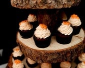 Rustic Wood Tree Slice 4-tier Cupcake Stand for your Wedding, Event, or Party (As seen on HGTV.com and The Tomkat Studio)