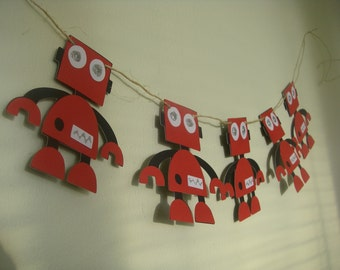 Sparkly Red Robot Banner for Birthday Party or Baby Shower CHOOSE YOUR COLORS