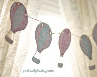 Up Up and Away Vintage Chic Hot Air Balloon Banner - baby shower, birthday party, nursery decor