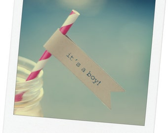 """Printable 'It's a Boy"""" Straw or Cupcake Flags - 15 per page - DIY - Vintage Baby Shower Favor Decor"""