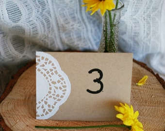 Handmade Custom Rustic Vintage Lace Wedding or Party Tent Card Table Number - Kraft Paper