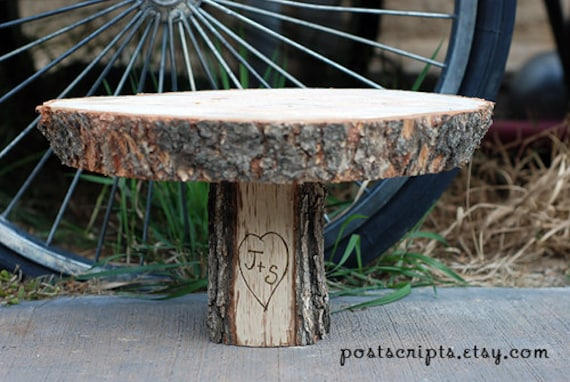 """11"""" Rustic Wood Tree Slice Cake Stand Pedestal for your Wedding or Party"""