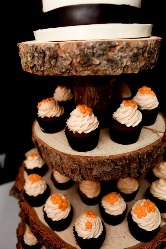 Custom for Jaclyn - Rustic Wood Tree Slice 4-tier Cupcake Stand for your Wedding, Event, or Party