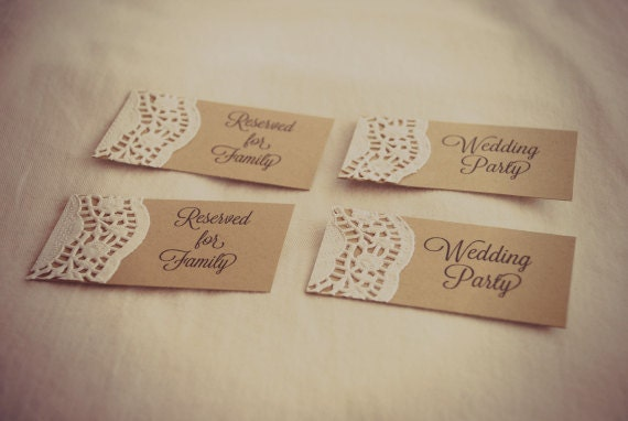 Custom for kate rustic wedding place cards lace doily for Personalized wedding place cards