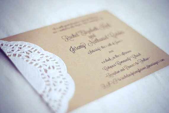 Items Similar To Custom Vintage Lace Doily Wedding Invitations With Script