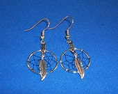 Black Nights Small Dream Catcher Earrings Clip On or Pierced You Choose Native American Made
