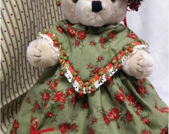 Christmas Bear, Elegant Holiday Bear, Plush Dressed Bear