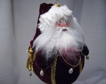 Christmas ornament, Victorian Rollie-Pollie Santa Velvet Santa