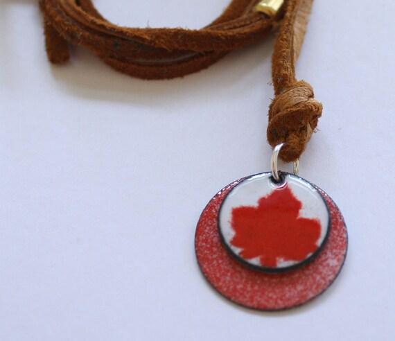 Enamel Earrings Maple Leaf on Copper