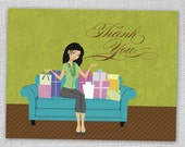 Girl Sitting on Couch with Gifts Thank You Cards (Set of 8)